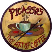 """Picasso's The Art Of Coffee""   Picasso's Coffee House Main Street, St. Charles, Missouri  [""Picasso's uses only the freshest micro-roasted coffees roasted right here in St. Louis. We are coffee people first and constantly strive to perfect our craft. We think you will appreciate our hard work.""]"