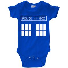 "Dr. Who ""TARDIS"" Infant Bodysuit Creeper (New Born - 24 Months) ($15) ❤ liked on Polyvore featuring baby and doctor who"