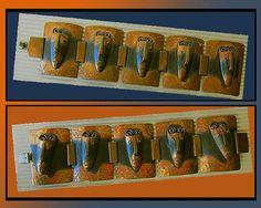 MASKED Men-TWO Rebajes Brazilian Mask Link Bracelets,Iconic Mid Century Design in Copper, Vintage Jewelry,Women