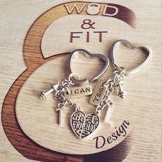 Pareja Workout Llaveros Best Friends I Can I Will Mancuerna y Iniciales Gym,Bodybuilding,Fitness,Regalo Pareja Compañeros Amigos Amor  Cross de WodAndFit en Etsy