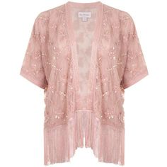 Miss Selfridge Pink Embellished Kimono ($61) ❤ liked on Polyvore featuring intimates, robes, coats & jackets, tops, pink, embellished kimono, miss selfridge, fringe kimono, kimono robe and pink robe