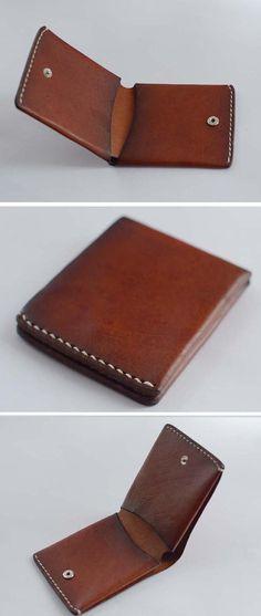 minimallist Mens Leather Wallet handmade wallet  by Yesterwish