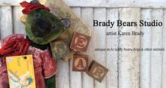 Christmas, holiday banner. Antique style teddy bears. Brady Bears Studio. BradyBears.com