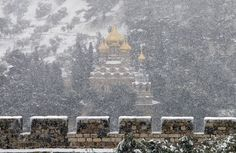 Russian Orthodox Church in Jerusalem during Jan 2013 snowfall