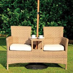Garden Furniture - Cozy Bay Hawaii Rattan Outdoor Love Seat with Cushion
