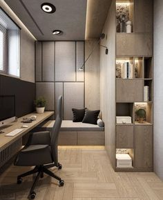 Trendy Home Office Contemporary Study Rooms Home Office Space, Home Office Design, Home Office Decor, House Design, Home Decor, Office Ideas, Studio Design, Office Bed, Studio Interior
