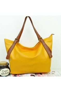 $19.99 Yellow Faux Leather Pure Color Big Tote Bag @MayKool