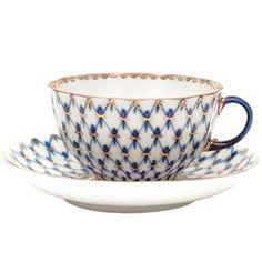 "Imperial Porcelain Beautiful Collectible ""Tulip Cobalt Net"" Teacup w Saucer | eBay"