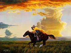 """I own this pic """"JUST FOR THE HECK OF IT!"""" by Tim Cox. His depiction of the contemporary American west with its glorious skies, rugged cowboys, hard working ranchers, the cattle they raise, good horses, and wide open spaces has been giving viewers a thrill for many years. Love, love, love his work."""
