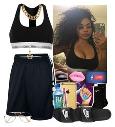 """Hotel Party ✨-Me"" by saucinonyou999 ❤ liked on Polyvore featuring Calvin Klein, NIKE and Goldgenie"