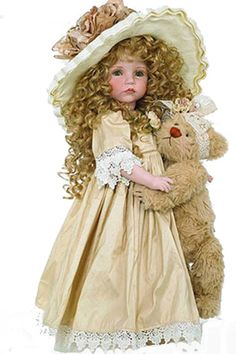 Porcelain DOLL Collectibles, Collectible Vinyl Dolls, The Doll Maker Dolls, Available from just-imagine-dolls.com  She is so cute with her teddy and long curly hair. Pretty face