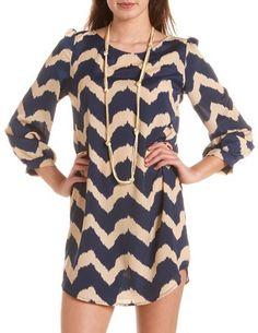 Chevron Stripe Shift Dress: Charlotte Russe