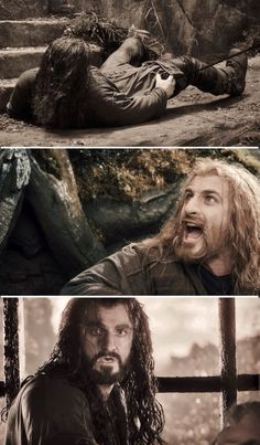 This bit brakes my heart because the look on fili kili and thorins face is just decistating #sadface.
