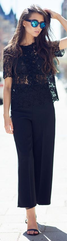 Amanda Rosende Black Lace Top Fall Inspo Dark Winter, Short Dresses, Summer Dresses, Black Lace Tops, Tulle Lace, All About Fashion, Armoire, Casual Outfits, Dress Up