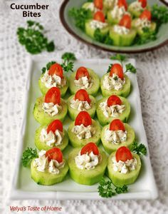 These impressive little Cucumber Bites Appetizers Recipe are fantastic for a number of reasons. They come together quickly, making them perfect for entertaining. Beautifully colored, taste great and still have essential nutrients.                                                                                                                                                                                 More