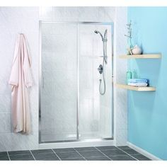 Stylish and robust sliding shower door with toughened safety glass.