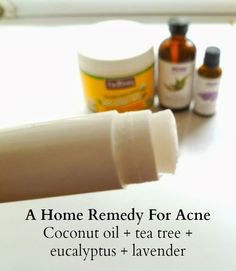 A home remedy for acne on rosestopalms.com. Coconut oil with tea tree, eucalyptus, and lavender essential oils