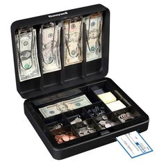 The Honeywell® cash box is a secure and safe way to keep money safe when locked. With multiple dividers and compartments, it is easy to keep everything organized and in its correct space. Cash Box, Savings Plan, Savings Box, Idee Diy, Baby Steps, Yard Sale, Craft Fairs, Vape, Saving Money