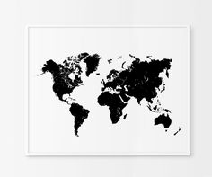 World Map Print Black and White Map Art by ChicScandinavian