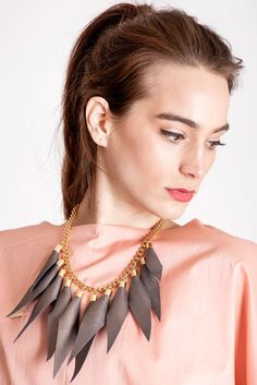 Wild child necklace in copper brown / gold features leather spikes with galvanized brass and metal components. Punk Subculture, Kids Necklace, Copper, Brass, Edgy Look, Wild Child, Spikes, Slow Fashion, Jewelry Branding