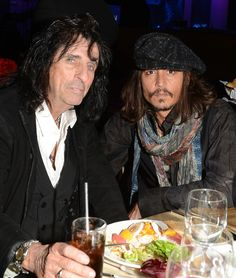 Musician Alice Cooper (L) and actor Johnny Depp attend the Annual GRAMMY Awards Pre-GRAMMY Gala and Salute to Industry Icons honoring L. Reid held at The Beverly Hilton on February 2013 in Los Angeles, California. Alice Cooper, Johnny Depp, Beverly Hilton, The Beverly, Tim Burton Films, Joe Perry, Katy Perry, Pre Party, Captain Jack Sparrow
