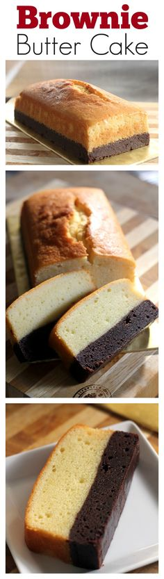 Brownie Butter Cake - thick brownie and rich butter cake combined into one decadent and to-die-for cake! Bake the brownie first and then the butter cake. Just Desserts, Delicious Desserts, Dessert Recipes, Yummy Food, Snacks Recipes, Easy Cake Recipes, Healthy Recipes, Brownie Butter Cake Recipe, Brownie Cake
