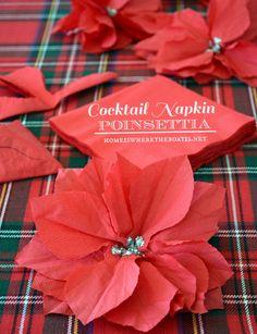 From Cocktail Napkin to Poinsettia! Gift Wrap embellishment #DIY #Christmas
