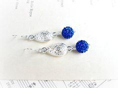 Sterling Silver Earrings Royal Blue Earrings by AllEarzJewelry