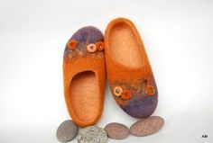 """felted slippers for women """"In blossom  """" to relax your feet-gift for her-ecological"""