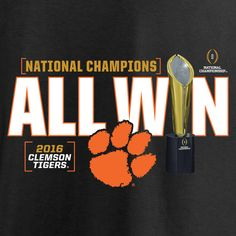e5d1e0352fc Clemson Tigers Fanatics Branded College Football Playoff 2016 National  Champions Linebacker T-Shirt - Black