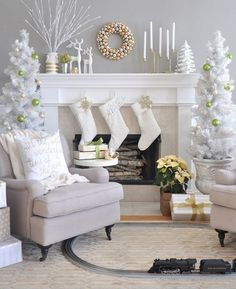 Christmas mantel decor ideas white christmas decorations trees stockings candles