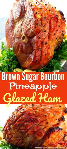 Mouthwatering baked Brown Sugar Bourbon Pineapple Glazed Ham is brushed with a brown sugar bourbon-pineapple glaze that takes the flavor over-the-top. Bourbon Ham Recipe, Bourbon Ham Glaze, Ham Glaze Brown Sugar, Honey Glazed Ham, Pinapple Ham, Pineapple Glaze For Ham, Christmas Ham Recipes, Holiday Ham, Christmas Ham Glaze