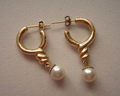 14k Gold Hoop Earrings with Pearl Dangle 3.4 grams Movable