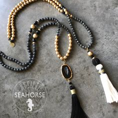 Items similar to Pendant Necklace: UCF Knights, , Black and Gold Beaded Boho Necklace. Removable Black and Gold Boho Beaded Tassel. on Etsy Excited to share this item from my shop: Pendant Necklace: UCF Knights, , Black and Gold Bead Tassel Jewelry, Fall Jewelry, Beaded Jewelry, Jewelery, Beaded Bracelets, Diy Jewelry, Boho Necklace, Pendant Necklace, Gold Beads