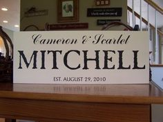 """Family Wood Sign - STYLE 5  The size is 24"""" by 10""""  Cameron & Scarlet (Handscript),MITCHELL (CASABLANCA),EST. AUGUST 29, 2010 (Andre SF)  No outdoor protection  Not distressed"""