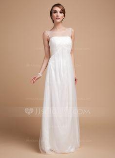Empire Scoop Neck Floor-Length Tulle Wedding Dress With Ruffle (002014502) $146