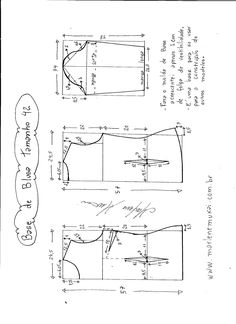 Esquema de modelagem de Base de Blusa tamanho 42.
