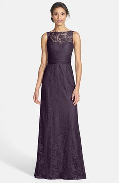 Amsale Illusion Yoke Lace Gown at Nordstrom