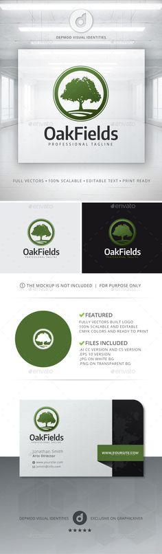 Oak Fields Logo — Vector EPS #oak logo #management • Available here → https://graphicriver.net/item/oak-fields-logo/11527720?ref=pxcr
