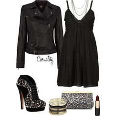 """Perfect for a girl's night out! LOVING the shoes!    """"Rouched Dress & Black Leopard Print"""" by casuality on Polyvore"""