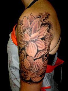 Black n White Flowers Tattoo On Half Sleeve