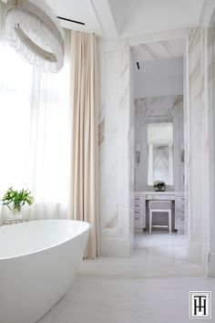Bathroom project supplied by Marble Trend featuring Covelano bookmatched for floor & wall application. Decor Interior Design, Interior Design Living Room, Room Interior, Dream Home Design, House Design, Custom Furniture, Furniture Design, Wall Treatments, Clawfoot Bathtub