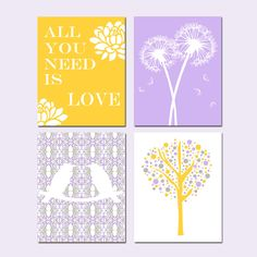 Nursery Quad - Set of Four 11x14 Prints - Yellow, Gray, Lilac Purple - Love Birds, All You Need Is Love, Tree Dot, Dandelion Floral