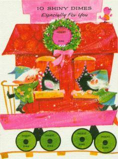 Unused Vintage Train Christmas Card for Children