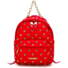 Moschino eyelet embellished backpack ($690) ❤ liked on Polyvore featuring bags, backpacks, red, quilted backpack, nylon backpack, quilted bags, nylon bag and red backpack