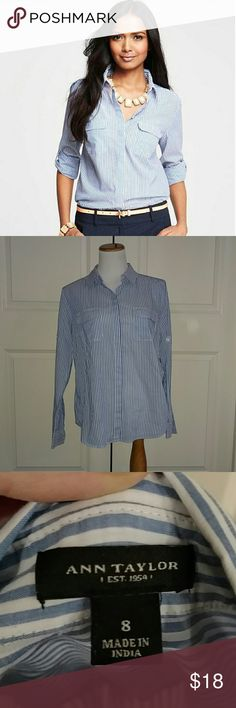 Ann Taylor Blue and White Striped Button Down Top This is a great Ann Taylor blue and white striped button down blouse. In excellent condition. Size 8. Ann Taylor Tops Button Down Shirts