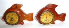 Carved Bakelite Fish Thermometers