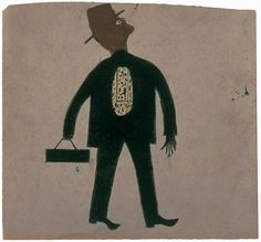 Ross the Undertaker, c. 1940. Artist: Bill Traylor. From: American Folk Art Museum, promised gift of Ralph Esmerian. Ross the Undertaker depicts David Callaway Ross, one of the owners of Ross-Clayton Funeral Home, where Bill Traylor sometimes slept in a back room. The subject is identified in an inscription on the back by Charles Shannon, who sometimes recorded Traylor's pithy comments on the reverse of his drawings.