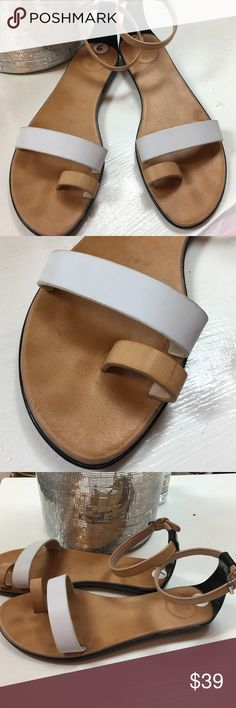 New! French connection flat White & Tan sandals Really cute French connection ankle strap leather sandals with toe and upper sole support leather strap. French Connection Shoes Flats & Loafers