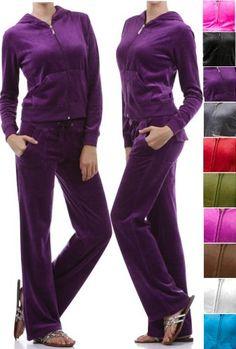 ToBeInStyle Velour Drawstring Pants Hoodie Sweat Suit Set Velvet Tracksuit Zip-Up Jacket Back Pockets